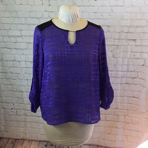 Dana Buchman prpl tunic w long bead at neckline